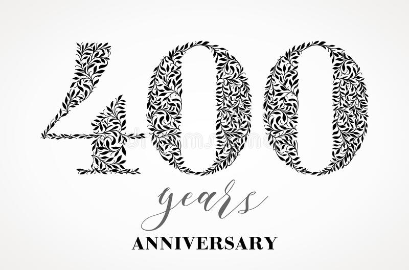 400th anniversary. Number four hundred consists of a sheet drawing. No gradient fill. Vector is easy to customize. View the entire series royalty free illustration