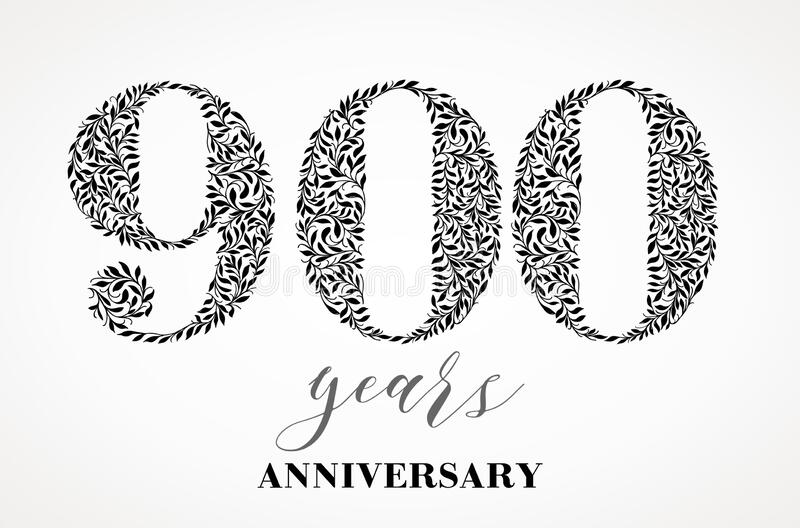 900th anniversary. Number nine hundred consists of a leaf drawing. No gradient fill. Vector is easy to customize. View the entire series vector illustration