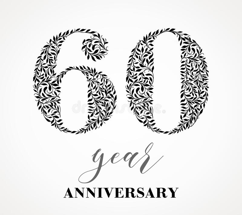 60-year anniversary. 60th anniversary Number sixty consists of a sheet drawing. No gradient fill. Vector is easy to customize. View the entire series stock illustration
