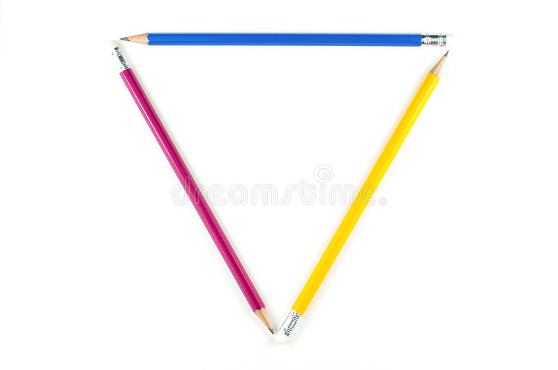 Triangle of major color pencil on white background. royalty free stock photo