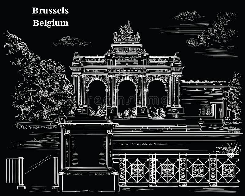 Triumphal arch in the park of the fiftieth anniversary in Brussels, back. The triumphal arch in the park of the fiftieth anniversary in Brussels Belgium vector illustration
