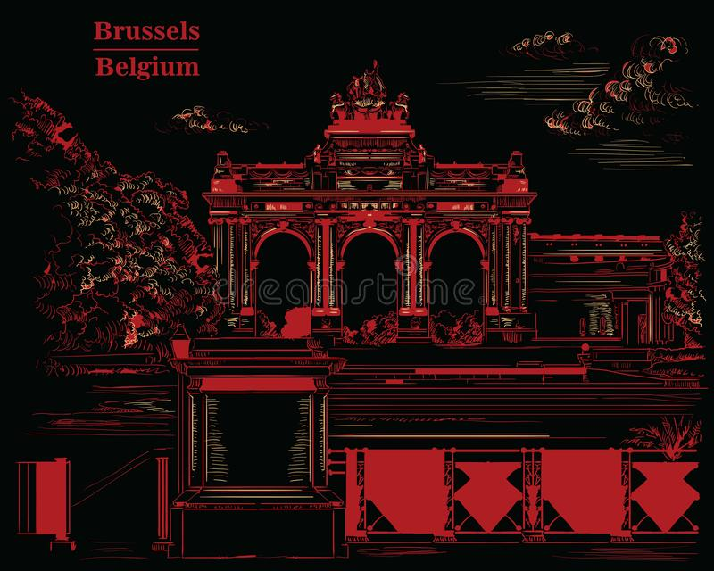 Triumphal arch in the park of the fiftieth anniversary in Brussels, black and red. The triumphal arch in the park of the fiftieth anniversary in Brussels Belgium vector illustration