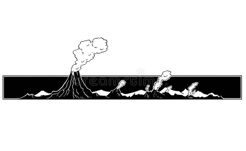 Vector Artistic Drawing Illustration of Volcano Landscape. Vector artistic pen and ink drawing illustration of volcano mountain landscape vector illustration