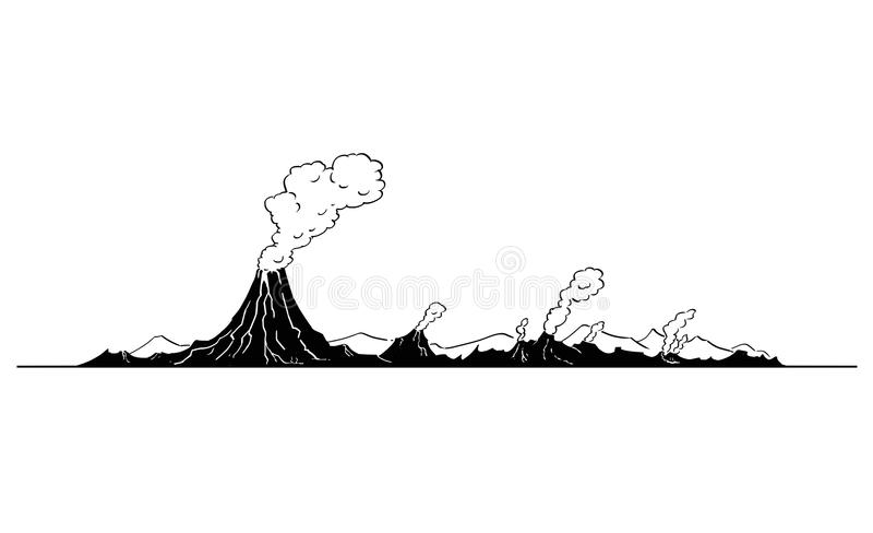 Vector Artistic Drawing Illustration of Volcano Landscape. Vector artistic pen and ink drawing illustration of volcano mountain landscape stock illustration