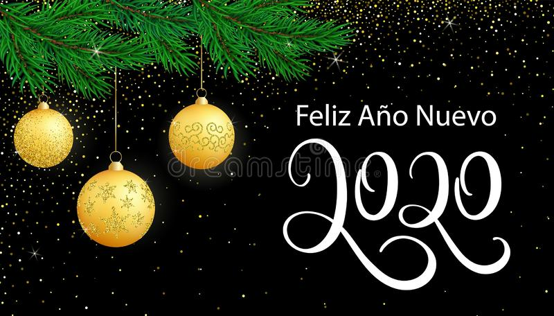 Vector card Happy New Year 2020 in Spanish language with glitter on black stock illustration