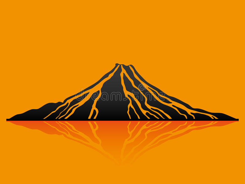 Vector illustration. Volcano. Vector illustration. Volcano on orange background vector illustration