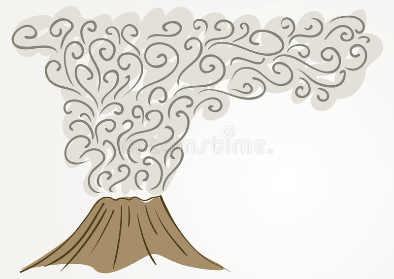 Volcano. Drawing of erupting volcano with smoke royalty free illustration