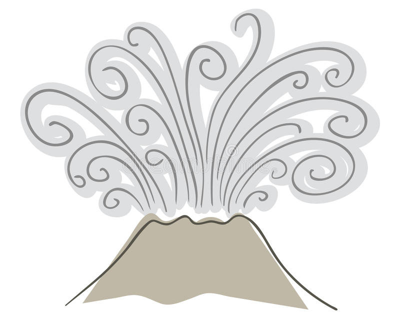Volcano. Drawing of erupting volcano with smoke vector illustration