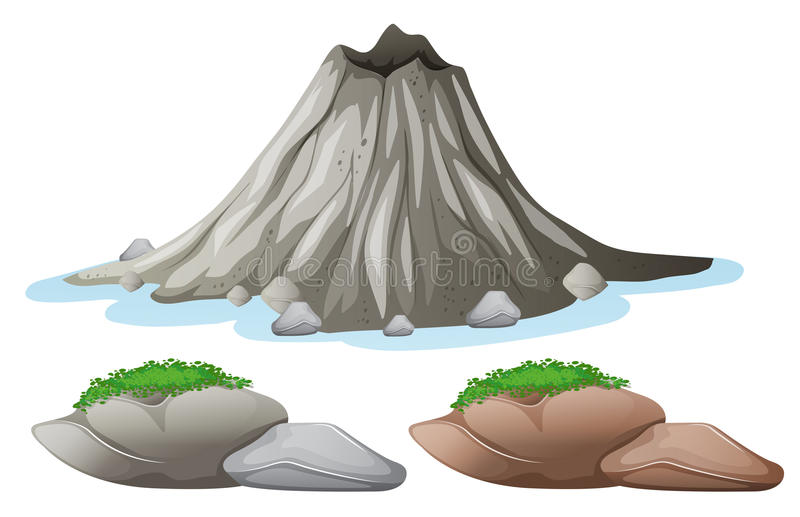 Volcano and different shades of rocks. Illustration royalty free illustration