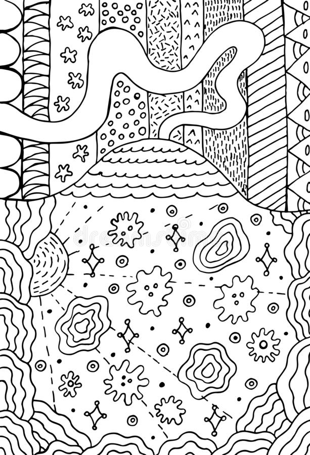Volcano doodle landscape with floral meadow. Mountain drawing. Hand drawn coloring page. Vector illustration. royalty free illustration