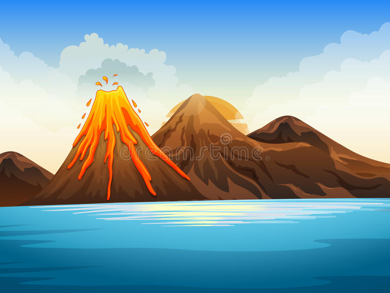 Volcano eruption by the lake. Illustration vector illustration