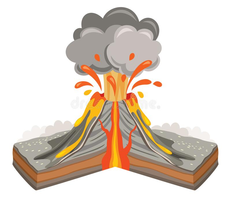 Volcano Eruption And Lava Drawing. Eps 10 stock illustration
