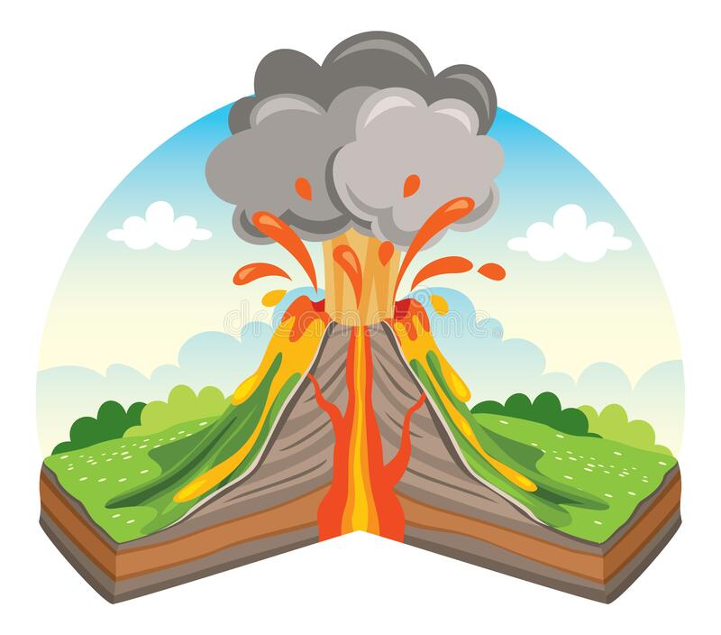 Volcano Eruption And Lava Drawing. Eps 10 royalty free illustration