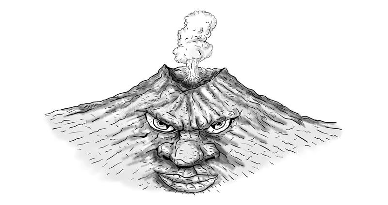 Volcano Man Fuming Erupting Drawing. Illustration of a mythical volcano man fuming erupting or about to erupt done in drawing sketch style royalty free illustration