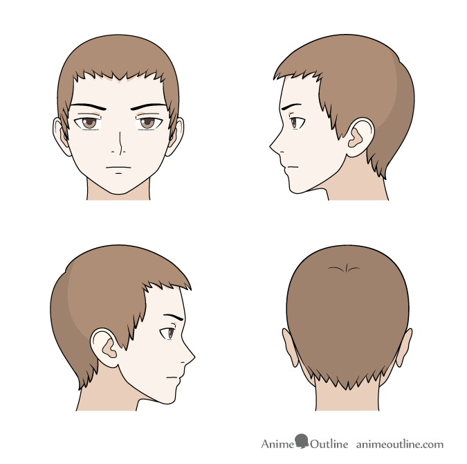 Drawing short anime hair front, back and side views